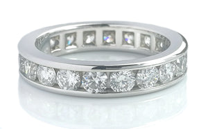 Tiffany & Co 3.9mm Full Channel Set Round Brilliant Diamond Ring Sz L RRP £8250