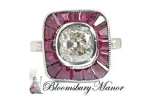 Original Art Deco 1.9ct Old Cut Diamond Ruby Calibre Target Halo Engagement Ring