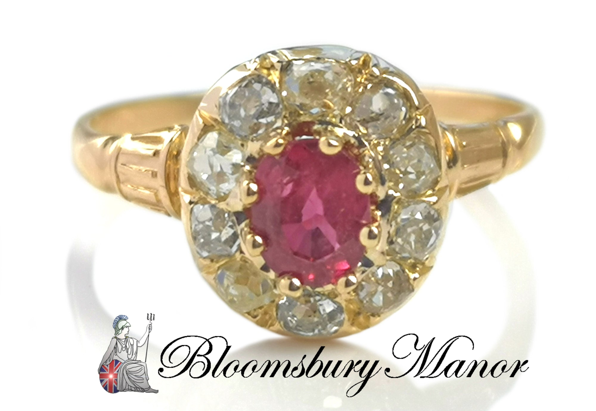Antique Victorian French 0.55ct Ruby & Diamond Cluster Ring in 18k Yellow Gold