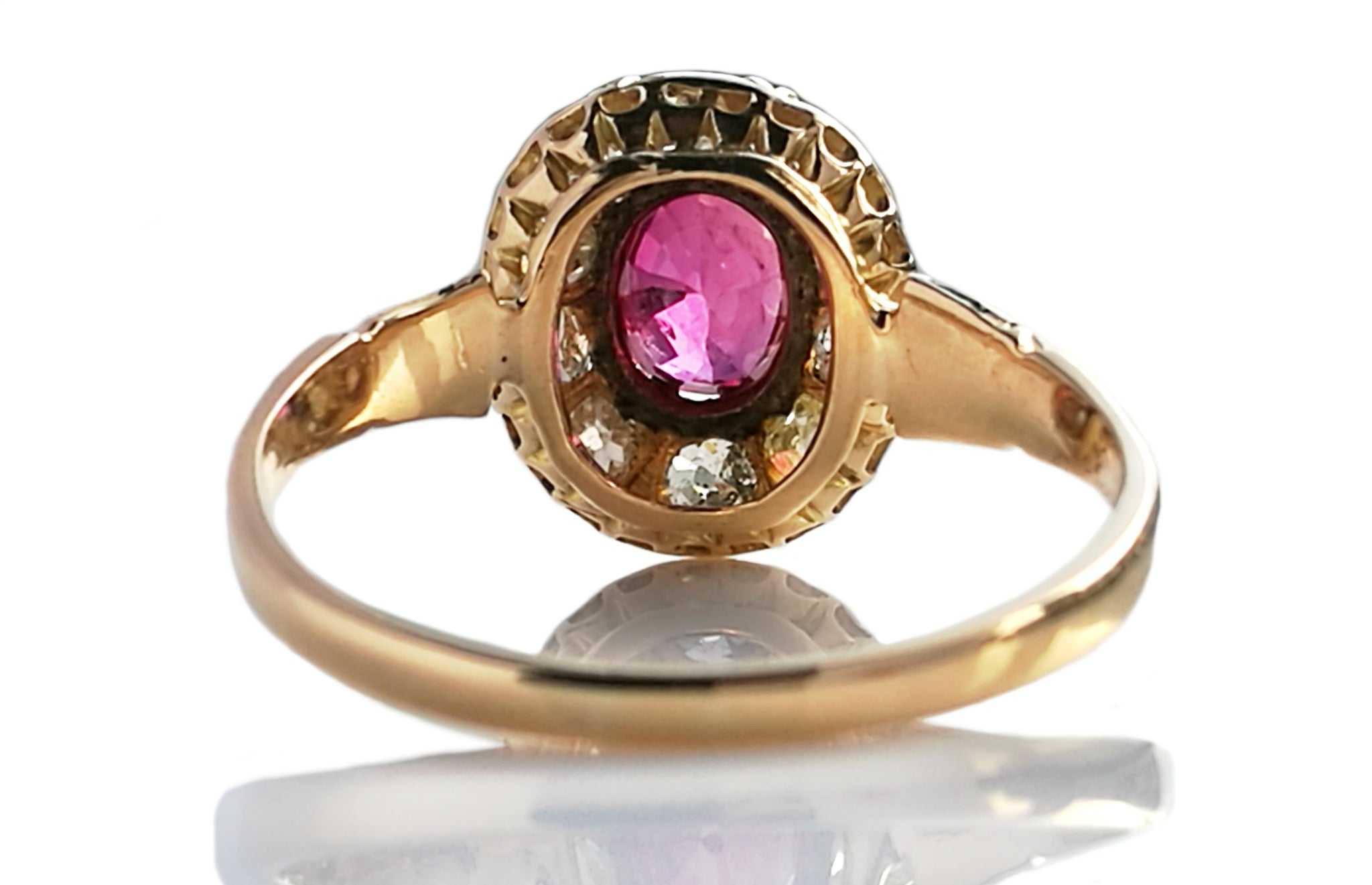 Antique Victorian French Burmese .55ct Ruby Diamond Cluster 18k Yellow Gold Ring
