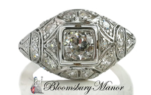 Original Art Deco 1ct Old Cut Diamond Bombe Platinum Engagement Ring