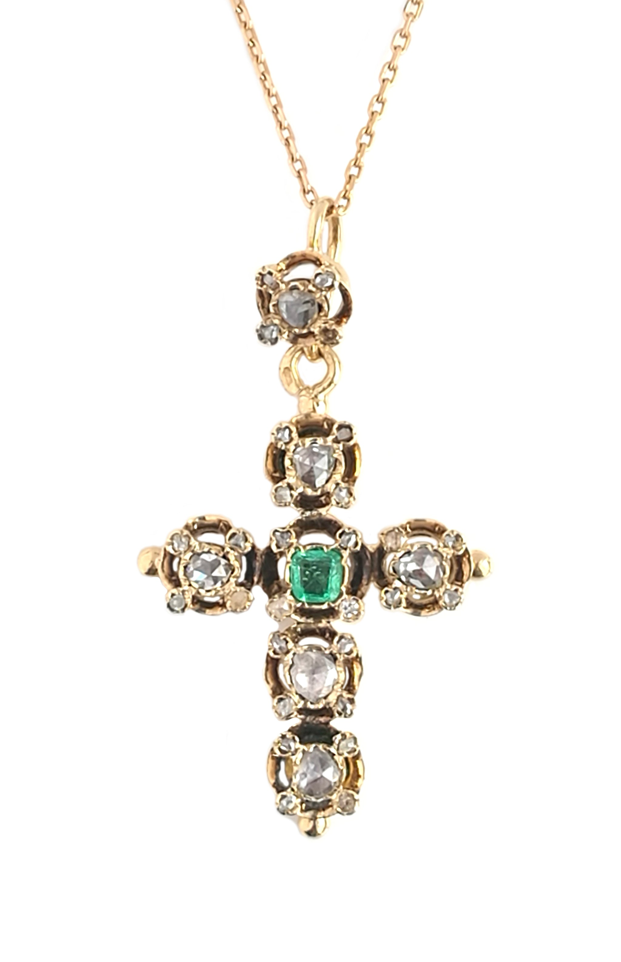 Antique French Victorian Rose Cut Diamond & Emerald Cross Pendant