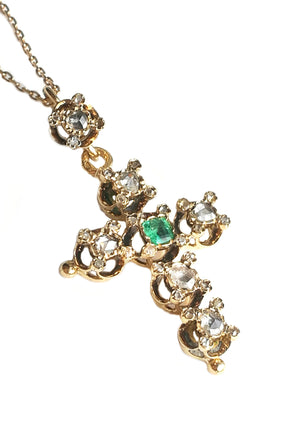 Antique French Victorian Rose Cut Diamond Emerald Cross Pendant Necklace