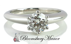 Tiffany & Co .70ct I/VVS2 Round Brilliant Diamond Engagement Ring SZ L