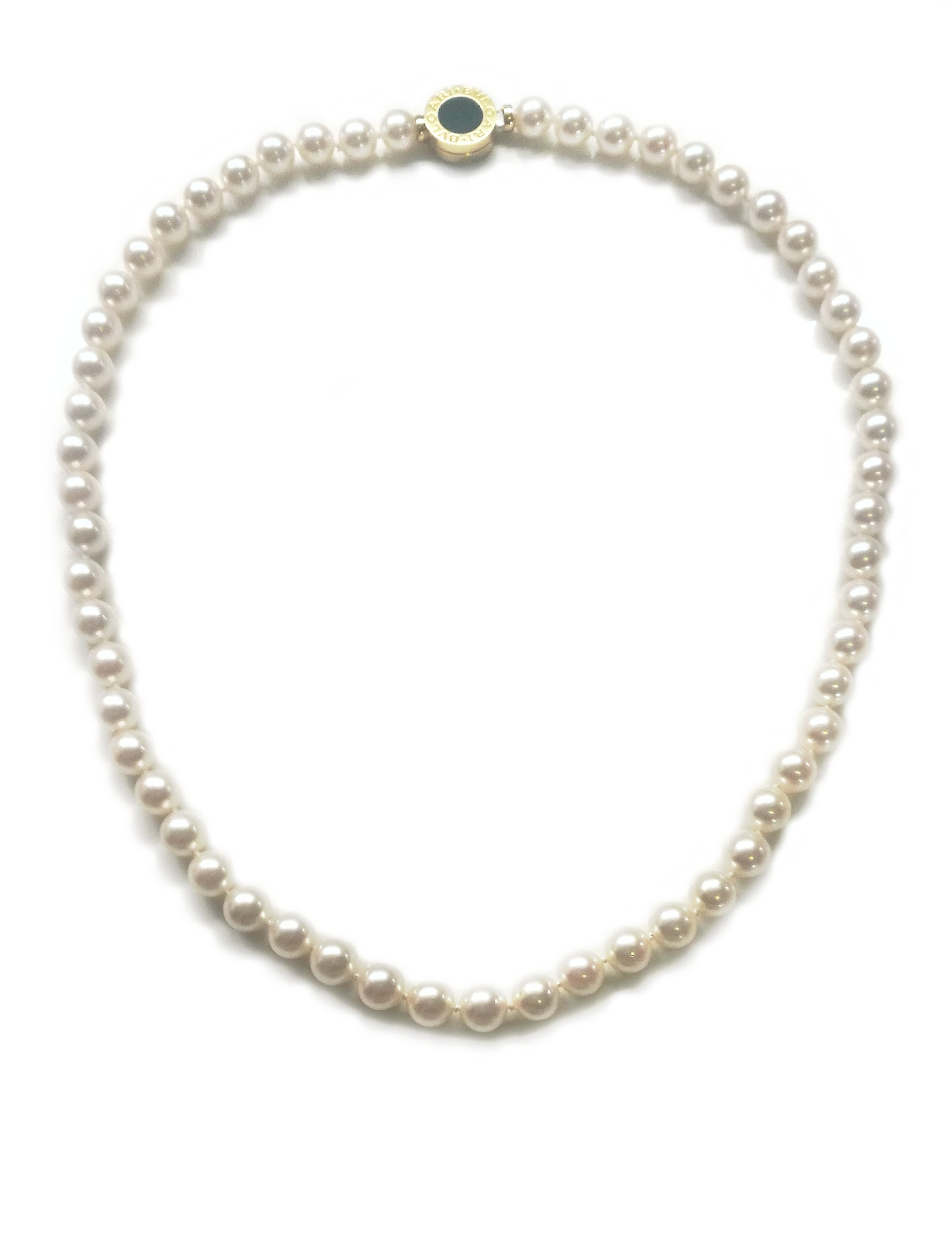 Bulgari Bvlgari 18-inch Pearl & 18k Gold Necklace with Original Case