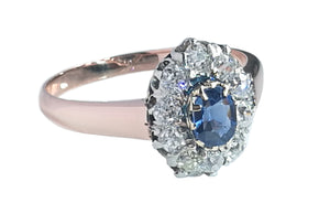 French Victorian Sapphire & Diamond Engagement Ring in 18k Rose Gold