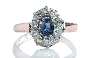 French Victorian Sapphire Diamond 18k Rose Gold Engagement Ring