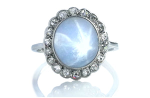 Antique Edwardian Star Sapphire Rose Cut Diamond Ring