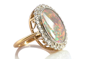 Antique Edwardian Victorian Opal & Old Cut Diamond Ring in 18k Yellow Gold