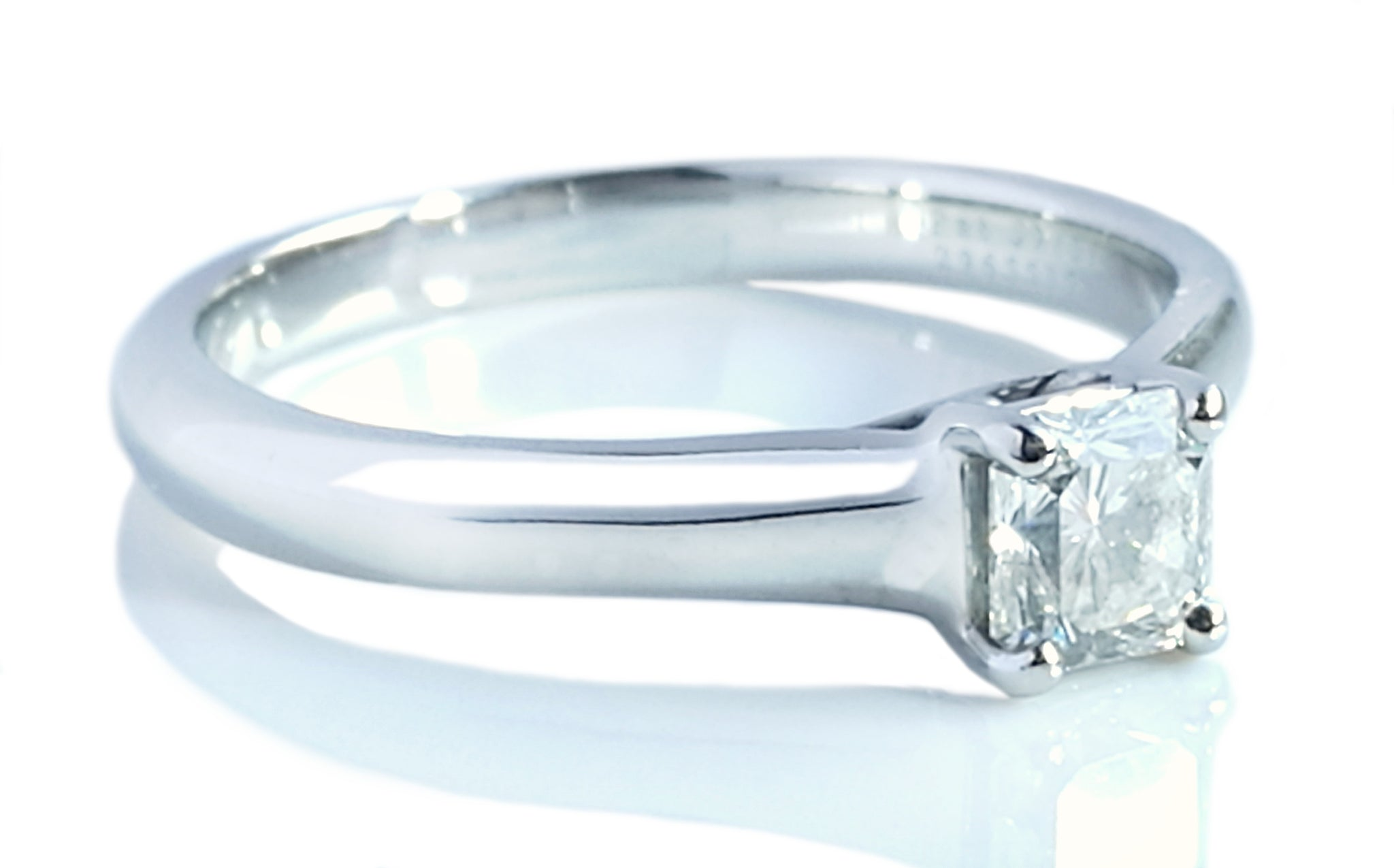 Tiffany & Co. 0.40ct H/VVS2 Lucida Square Cut Diamond Engagement Ring