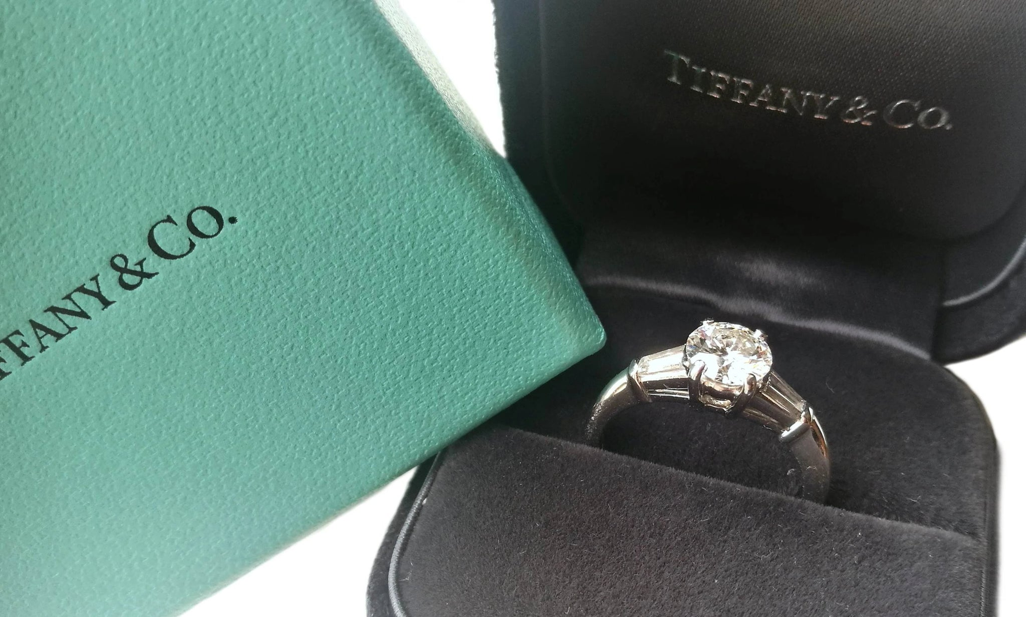 Tiffany & Co. 1.17ct G/VS1 3 Stone Diamond Engagement Ring with Baguette Side Stones in box