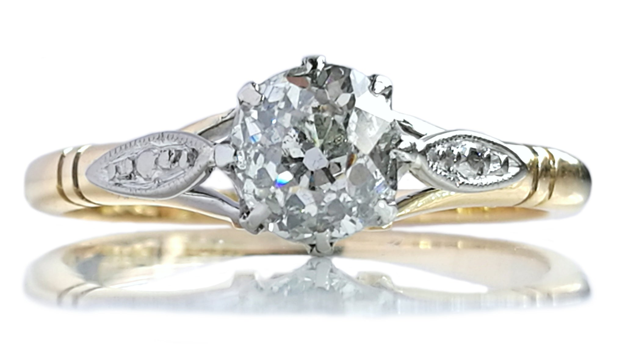 Antique Victorian 0.50ct Old Cut Diamond Engagement Ring in 18k Gold & Platinum