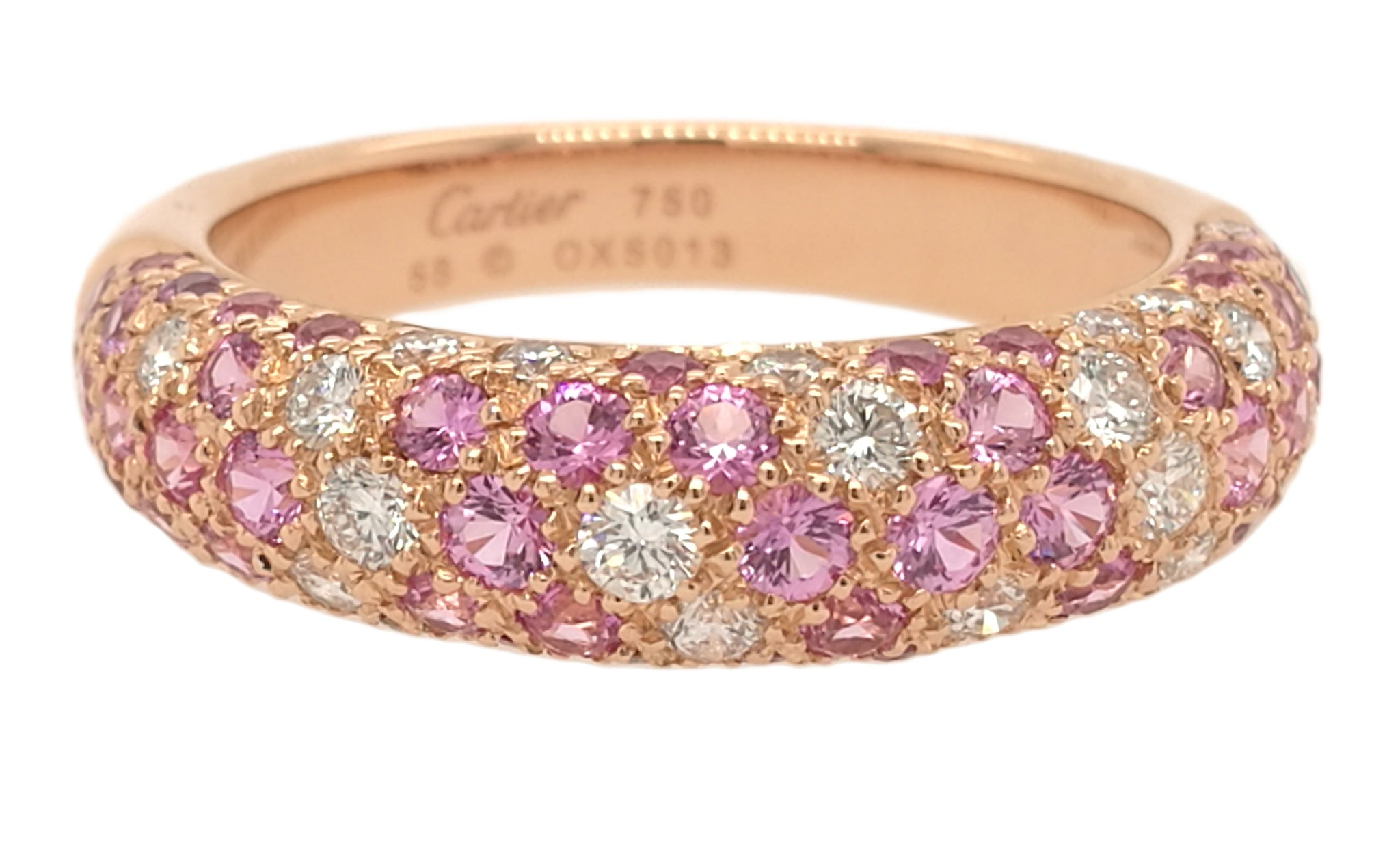 Cartier 18k Rose Gold Mimi Pink Sapphire & Diamond Ring