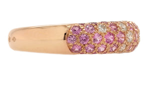 Cartier 18k Rose Gold Mimi Pink Sapphire & Diamond Ring, Size 58