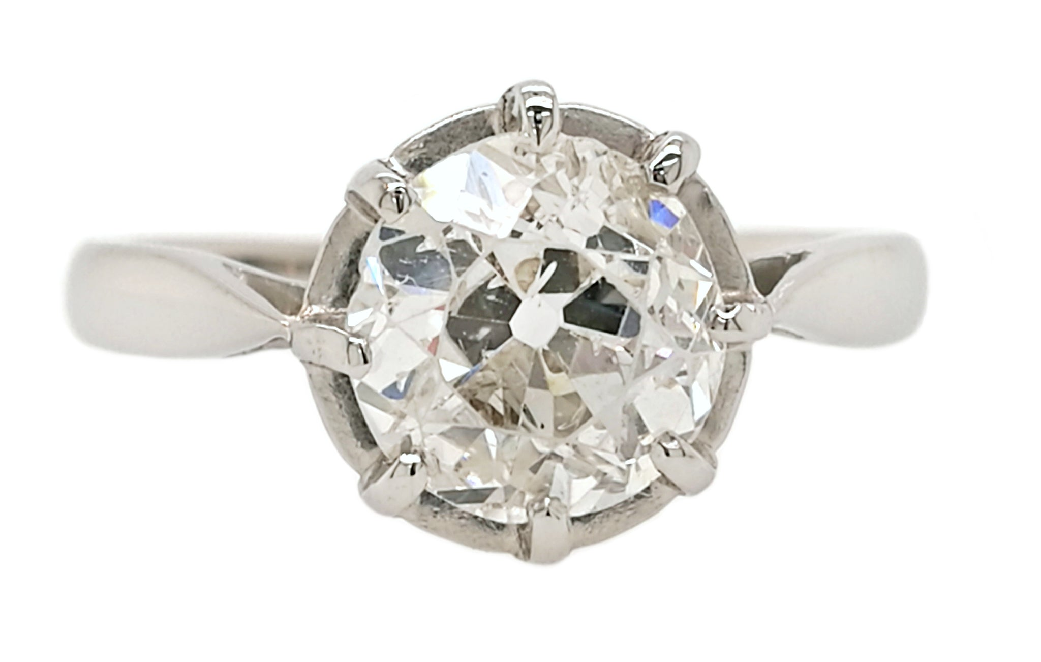 1920s Antique French 1.51ct Old Cut Diamond Engagement Ring in Platinum