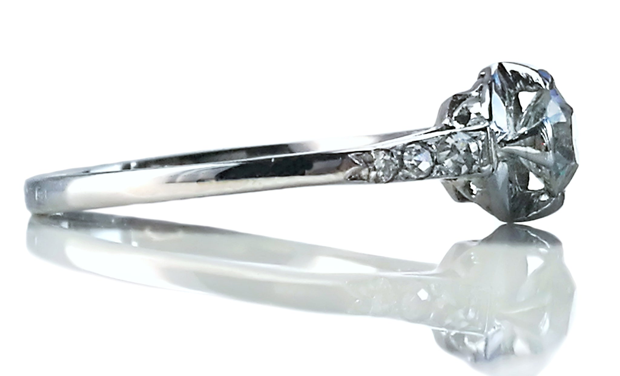 1920s French Antique Art Deco .45ct G/VS Old Cut Diamond Engagement Ring Platinum