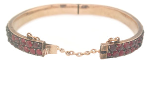Antique 1890s Bohemian Rose Cut Garnet Bracelet