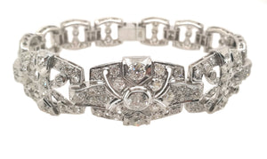 Antique 1930s Art Deco 6.0ct Old Cut Diamond & Platinum Bracelet