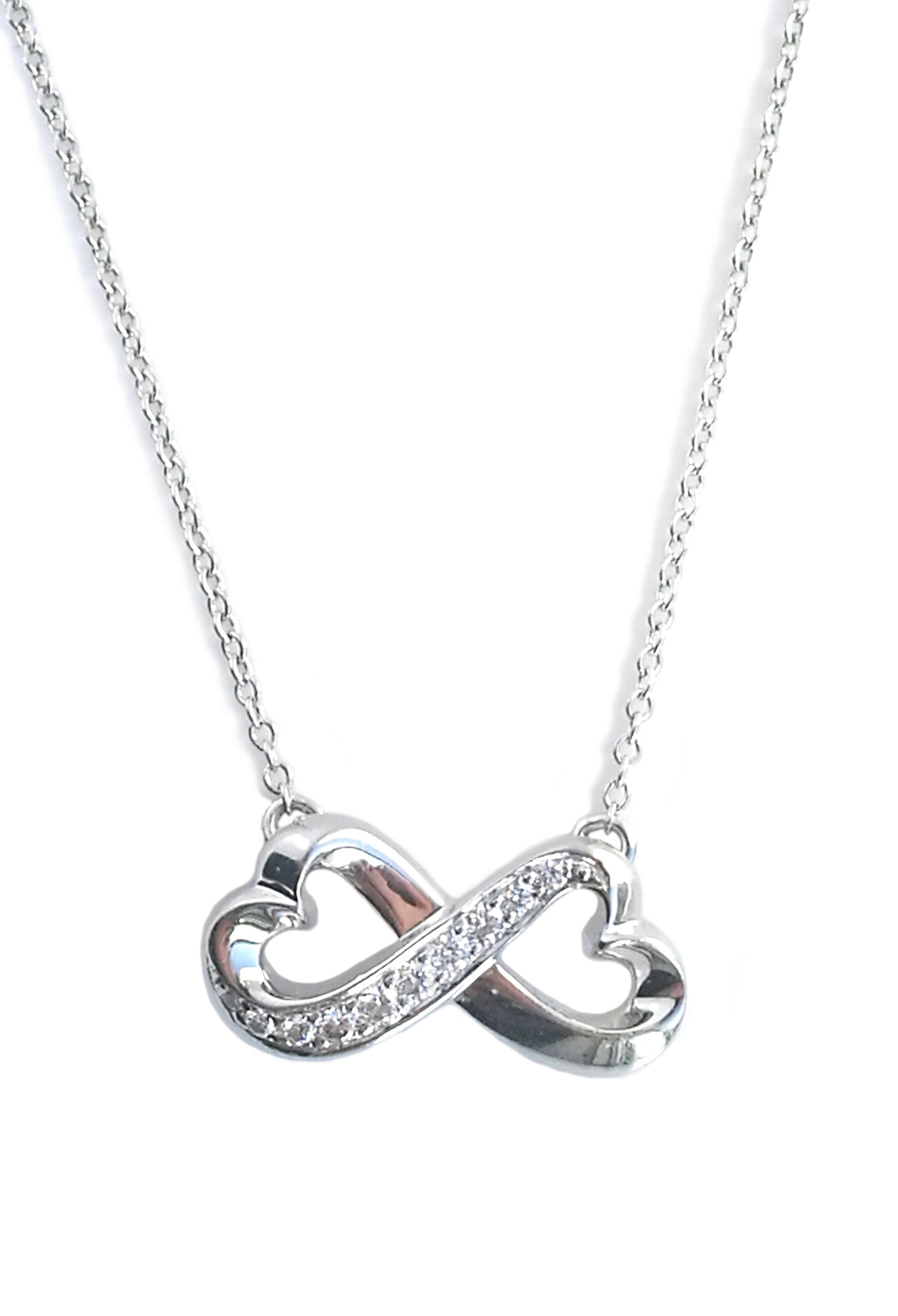 Tiffany & Co Paloma Picasso 18k White Gold Double Diamond Loving Hearts Necklace