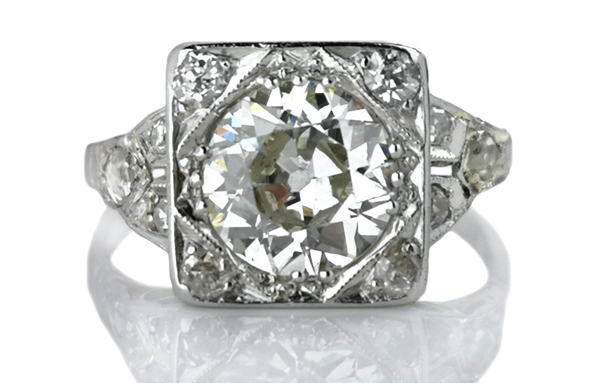 Antique Art Deco 1.44ct Old European Cut Diamond Engagement Ring