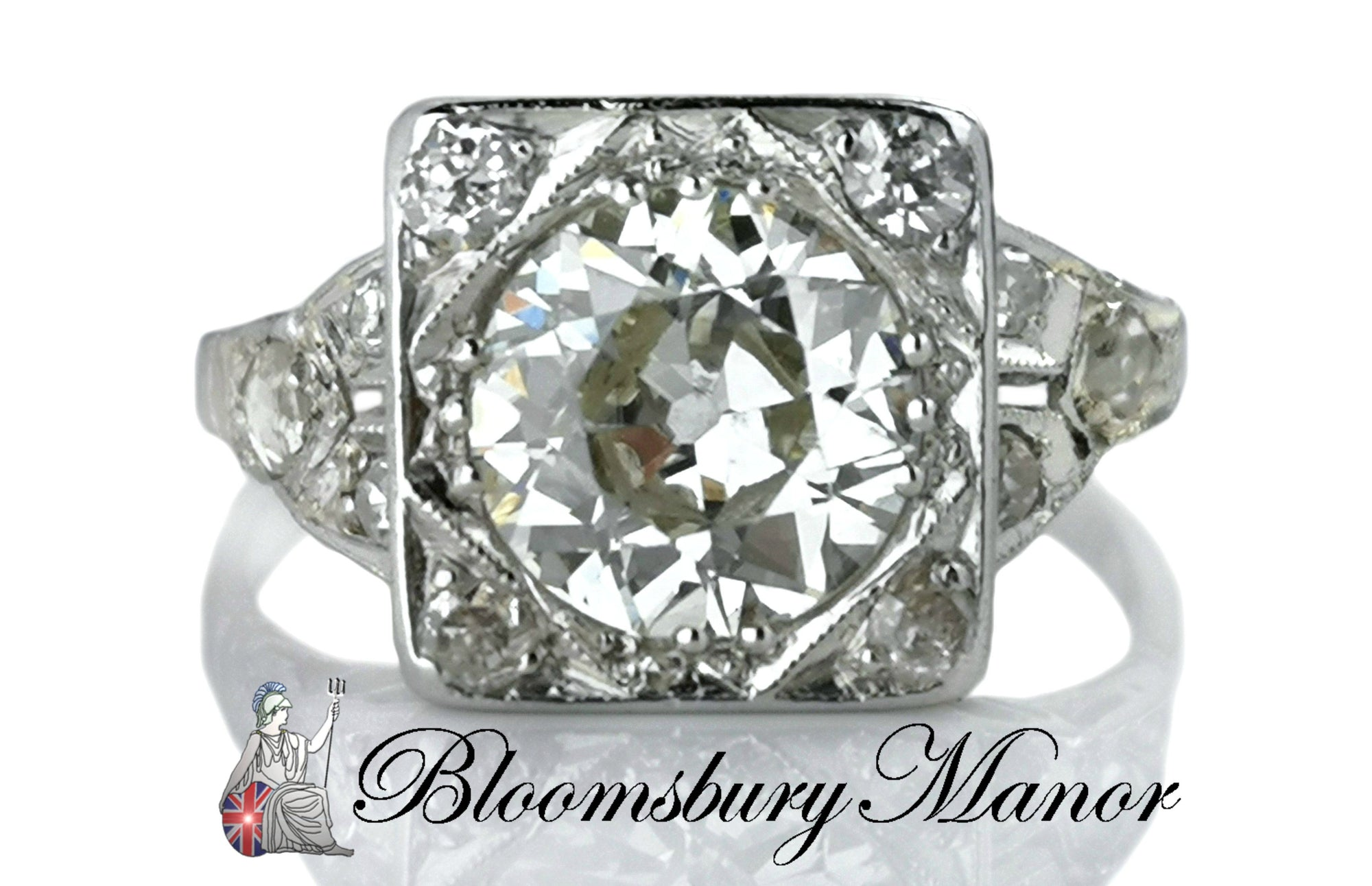 Antique Art Deco 1.44ct Old European Cut Diamond Engagement Ring L 1/2