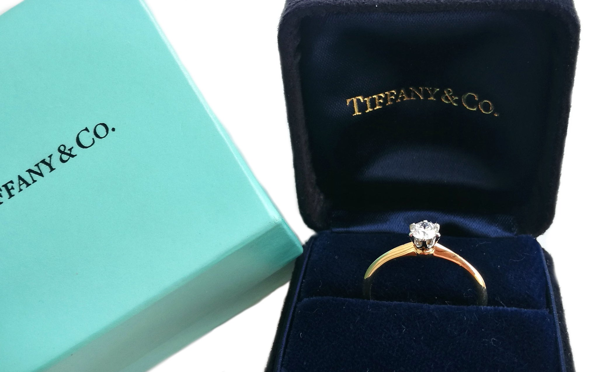 Tiffany & Co .23ct Round Brilliant Diamond Engagement Ring SZ J 1/2