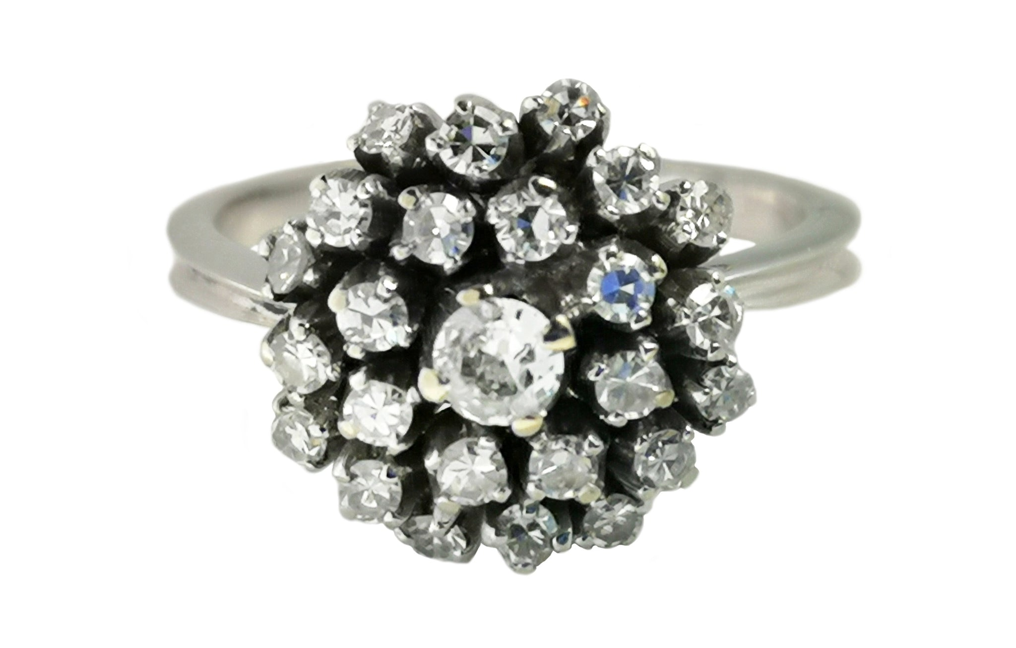 Mid Century 1950s 0.50ct Old Cut & 8/8 Diamond 19k White Gold Cluster Ring