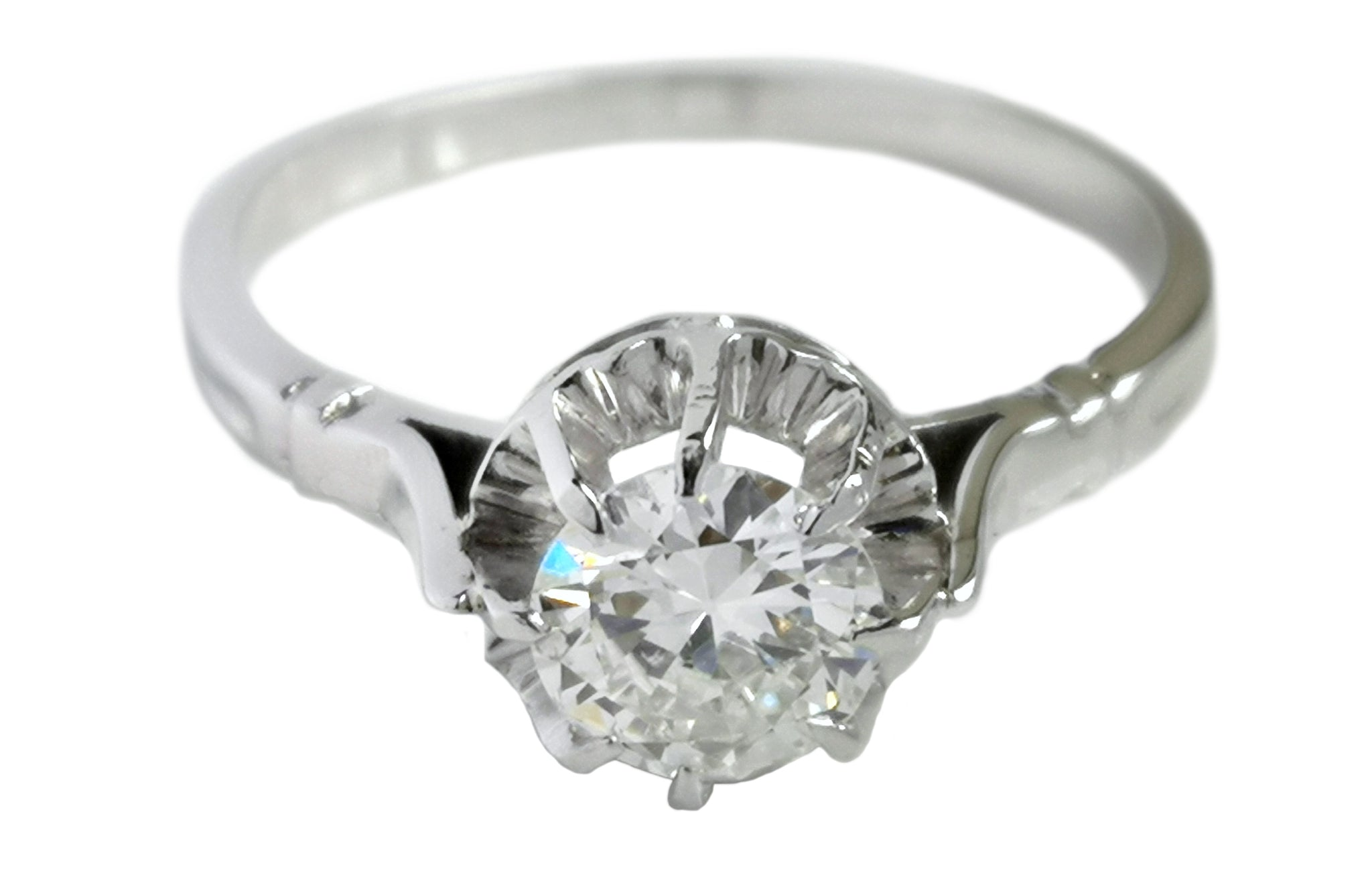 Vintage French Ballerine 0.84ct G/SI2 Round Brilliant Diamond Engagement Ring