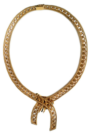 Vintage French 1940s Retro Gold Diamond Necklace