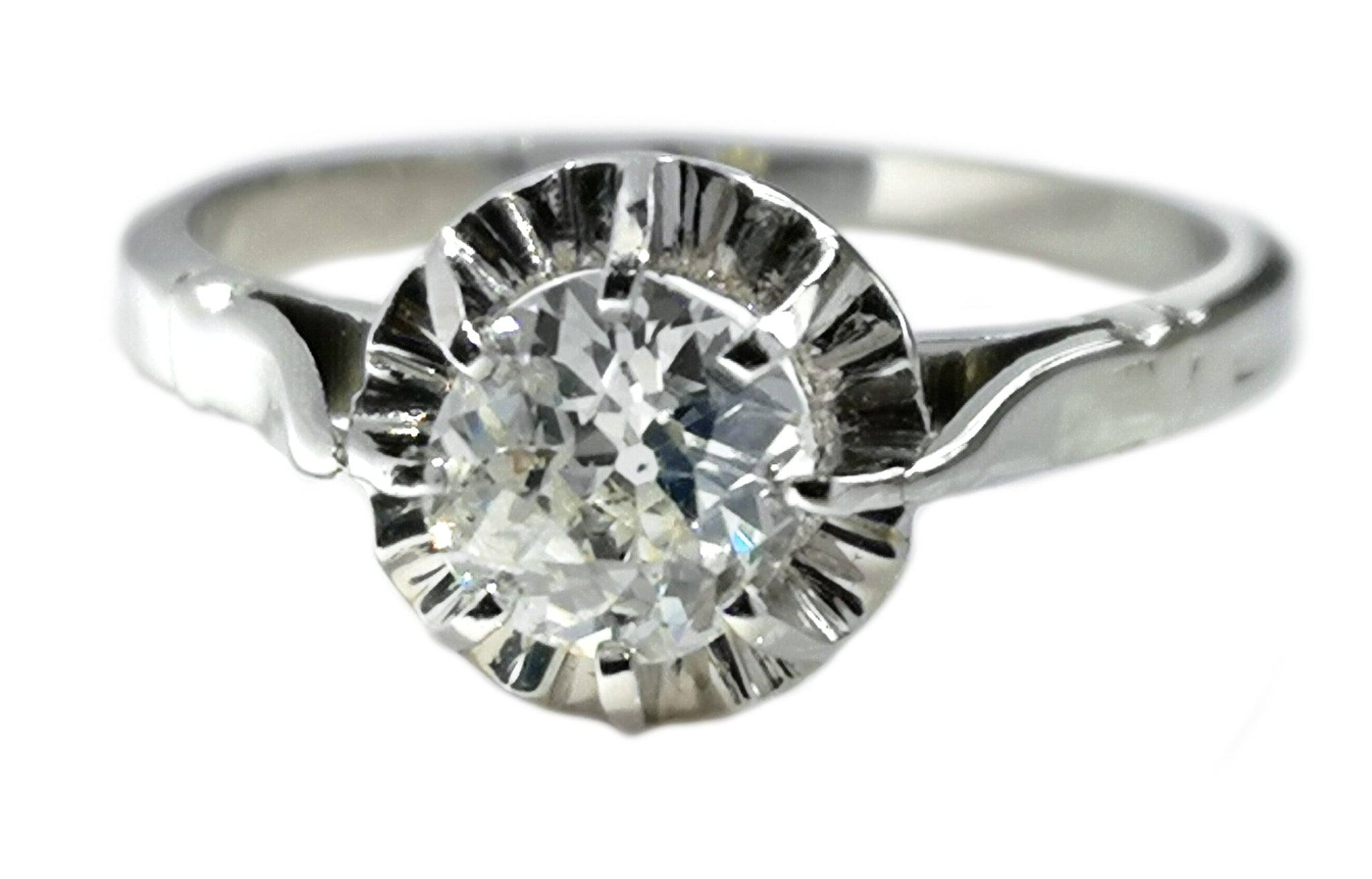 Antique French Ballerine .69ct G/SI1 Old Mine Cut Diamond Engagement Ring SZ L