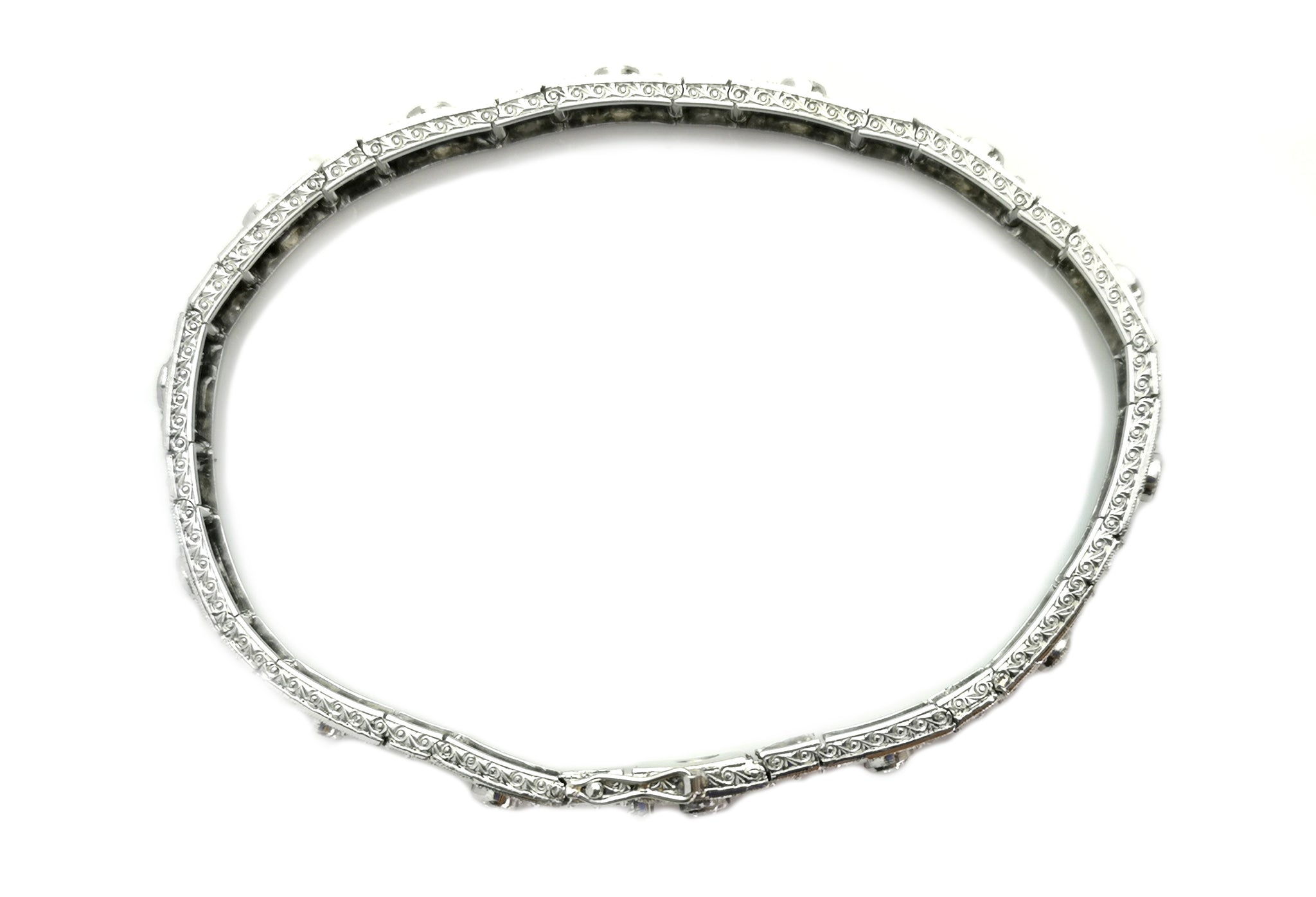 French Art Deco 2tcw Old Cut Diamond Bracelet 7in