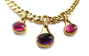 Vintage 1980s Bulgari Bvlgari Amethyst, Tourmaline & 18k Yellow Gold Necklace