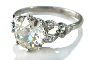 Original Art Deco 2.05ct N/VS2 Old European Brilliant Cut Diamond Engagement Ring