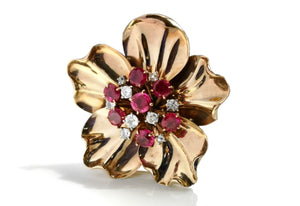 Cartier 1950s 2.5ct Ruby .50ct Old Cut Diamond Flower Brooch