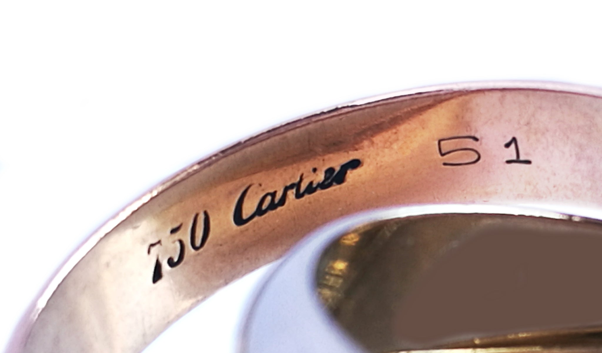 Cartier Wide White, Yellow, Rose Gold Trinity Rolling Ring SZ 51