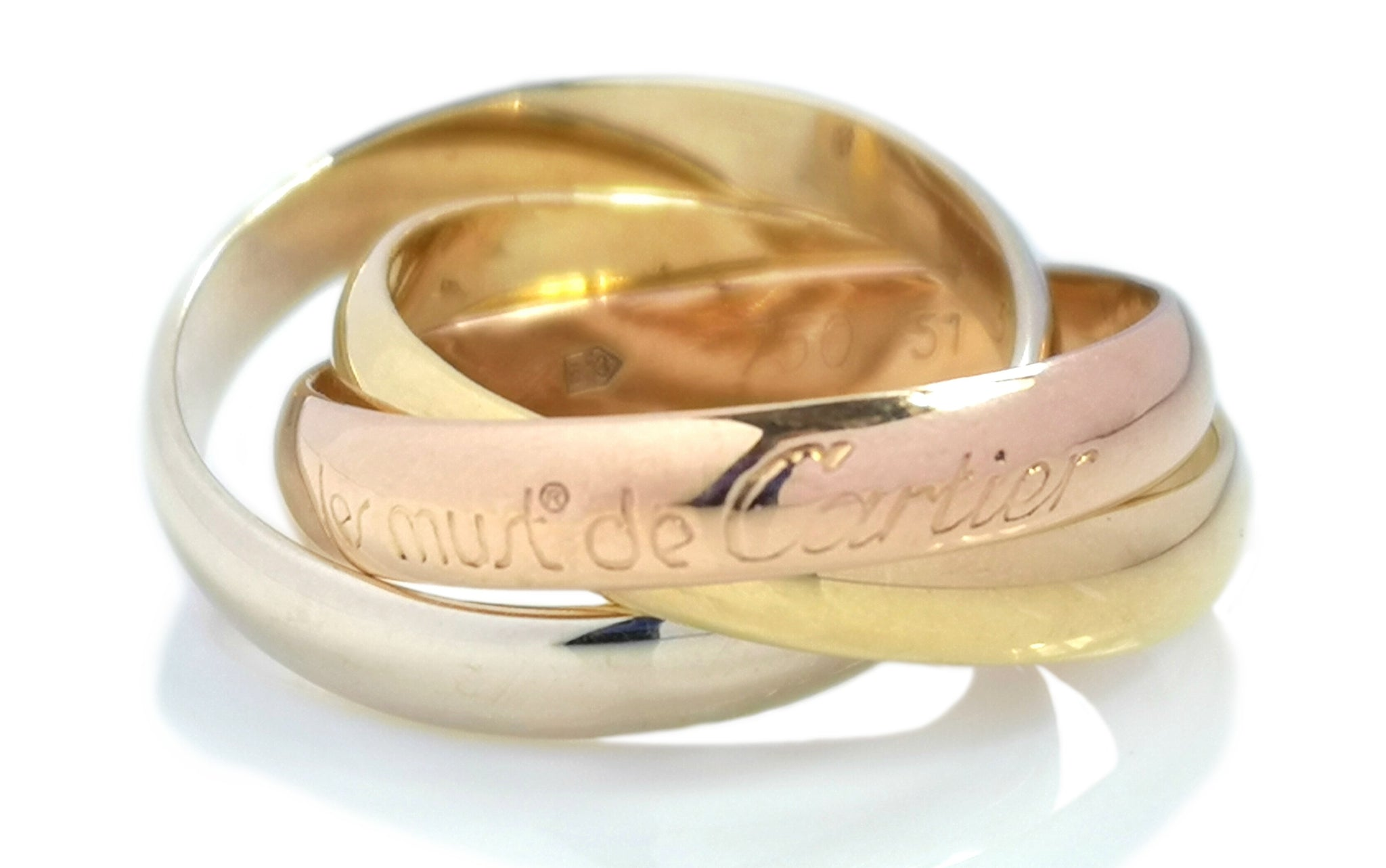 Vintage Les Must de Cartier Trinity Ring in 18k Gold, Sz J (51)