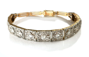 Art Deco Old Cut & Brilliant Diamond 14k Gold Platinum Bracelet 7 inch