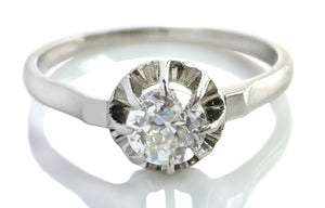 Antique 1900s 0.5ct G/VS Old Cut Diamond Platinum Ballerine Engagement Ring