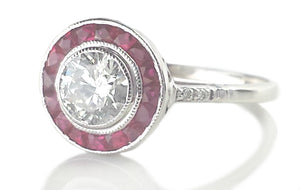 Art Deco Style 0.75ct Diamond & Ruby Target Halo Engagement Ring