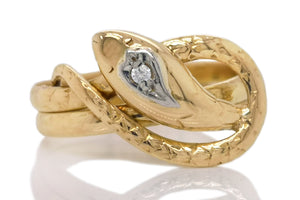 Antique Victorian French Old Cut Diamond Serpent Snake Ring Sz O