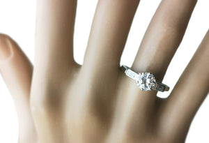 1950s Mid Century .95ct Round Brilliant Baguette Diamond Engagement Ring