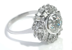 1950s French Mid-Century 2.0tcw Old Cut Diamond Cluster Engagement Ring