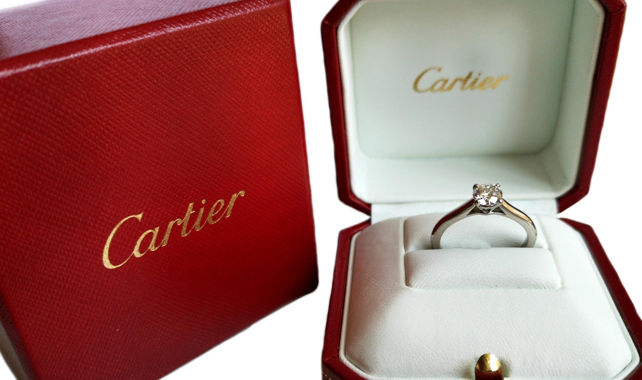 Cartier 1895 0.76ct H/VVS1 Triple XXX Round Brilliant Cut Diamond Engagement Ring