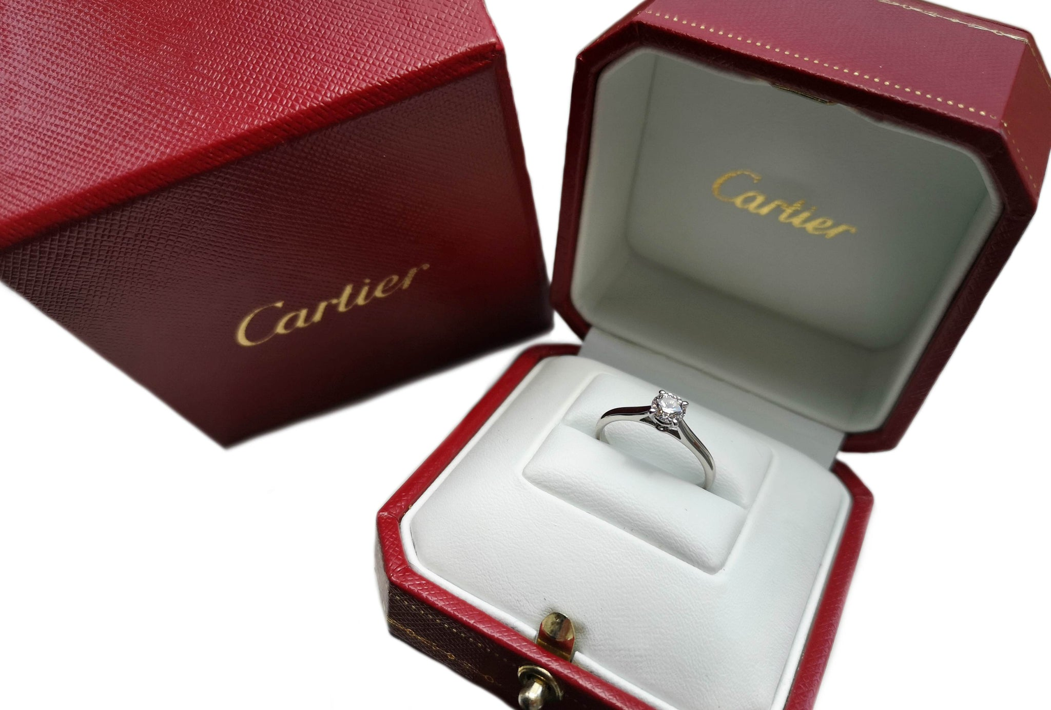 Cartier .40ct G/VVS1 Triple XXX Round Brilliant Diamond Engagement Ring SZ K 1/2
