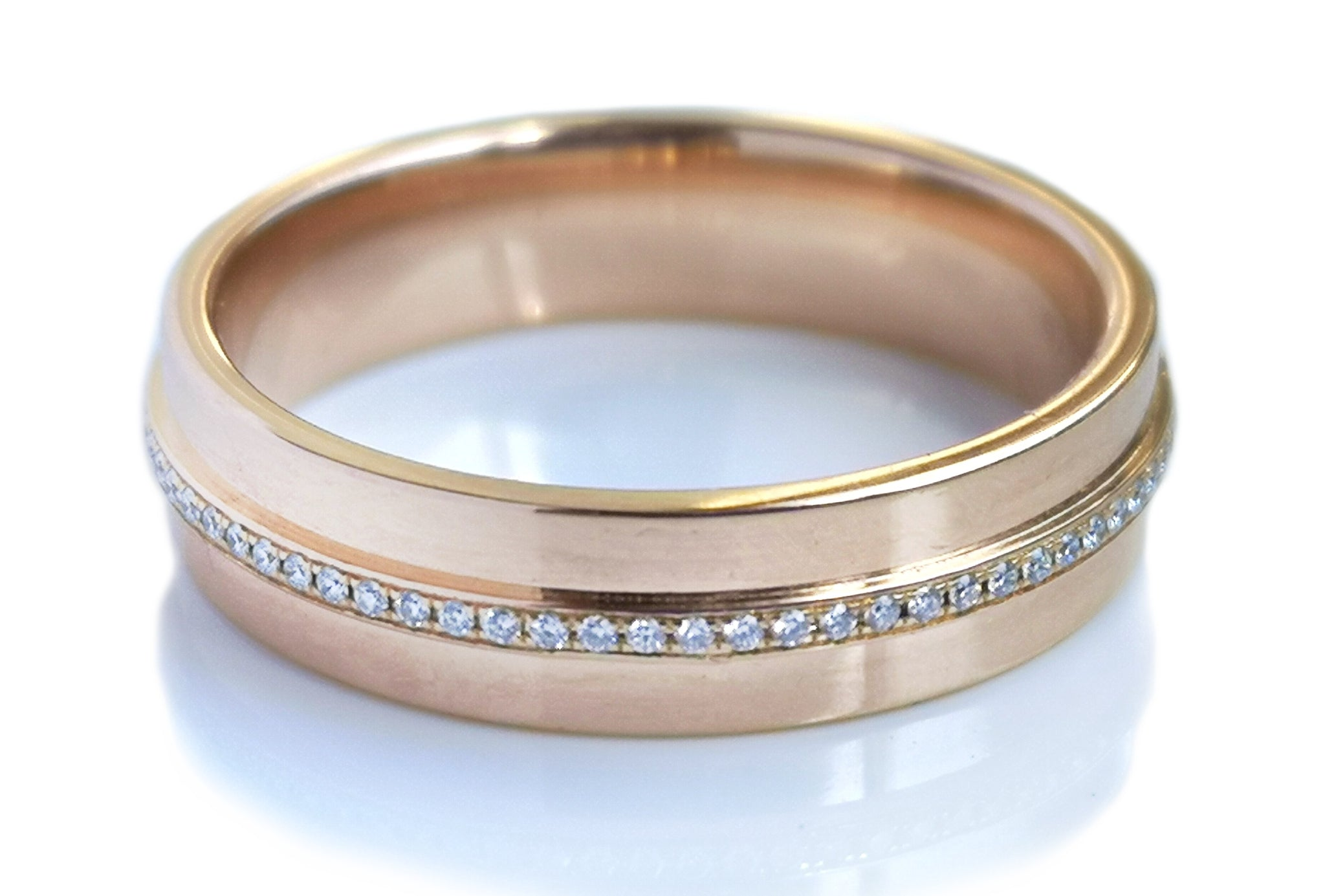 Tiffany & Co T .12ct Diamond Wide Rose Gold Ring SZ T US 10