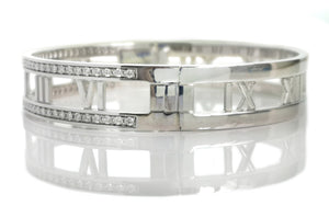 Tiffany Atlas Open Hinged Diamond Bracelet Bangle 18k White Gold