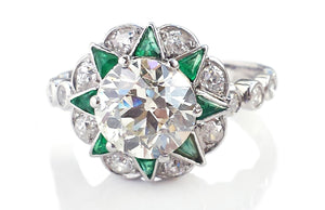 Art Deco 3.05tcw  N/VS1 GIA Old Cut Diamond Emerald Engagement Ring