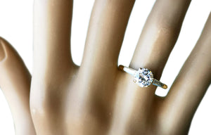 Vintage Cartier 1.01ct D/VVS2 Round Brilliant & Tapered Baguette Diamond Engagement Ring in 18K Gold