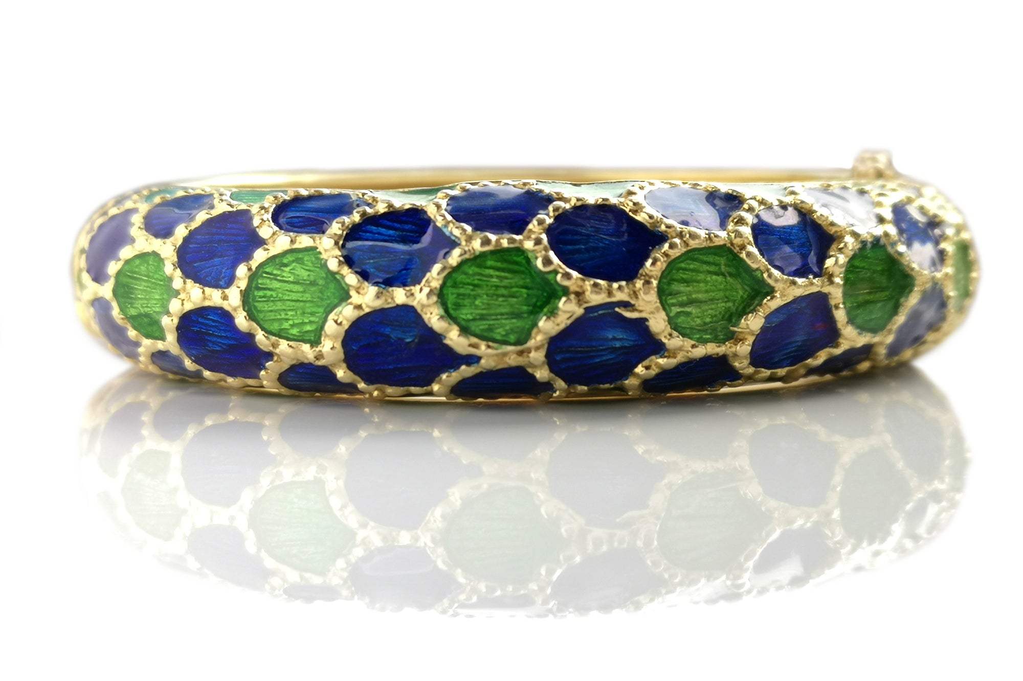 1960s Tiffany & Co Blue Green Enamel Bangle Bracelet