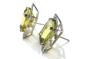 Art Deco Style 15.2ct Heliodor Yellow Beryl Diamond Earrings 18k White Gold